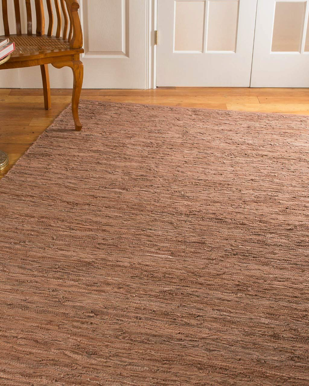 Natural Area Rugs Handmade Reversible Biscayne Leather Rug 6 x 9 Pinkish Brown
