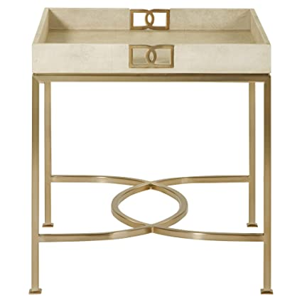 Oriana Ivory Faux Shagreen Tray Gold Side Table