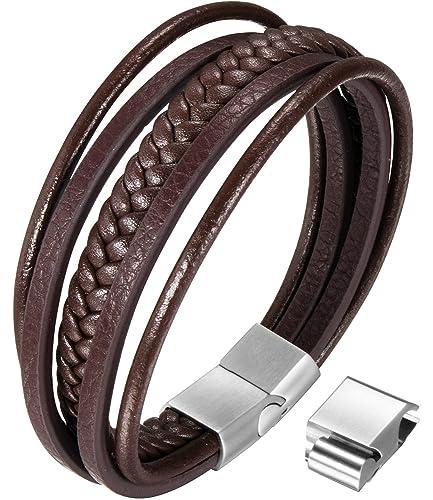 4b8e025debd5a OSTAN Mens Bracelet Fashion Men's Braided Leather Bracelet Bangle Magnetic  Clasp