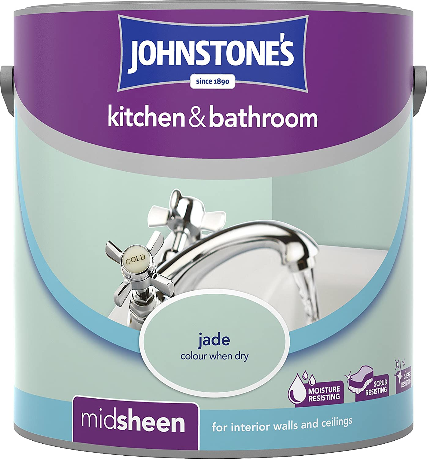 Johnstone\'s 303957 2.5 Litre Kitchen and Bathroom Emulsion Paint ...