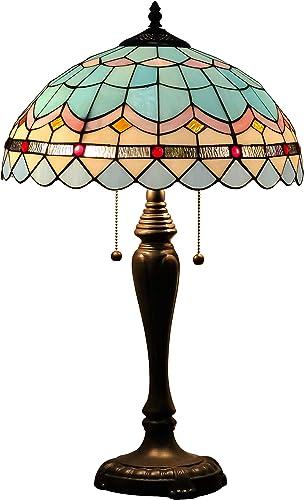 DreaLass Lighting Tiffany Table Lamp W16H25 Inch Stained Glass European Retro Badminton Desk Light Cafe Living Room Bedroom Restaurant Dining Room Parent Lover Friend Kid Living Room Gift