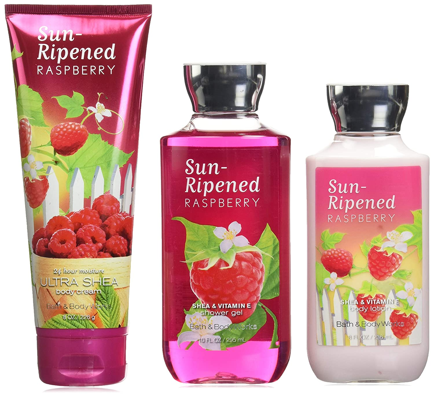 Bath & Body Works Sun Ripened Raspberry Body Cream, Shower Gel and Body Lotion Gift Set
