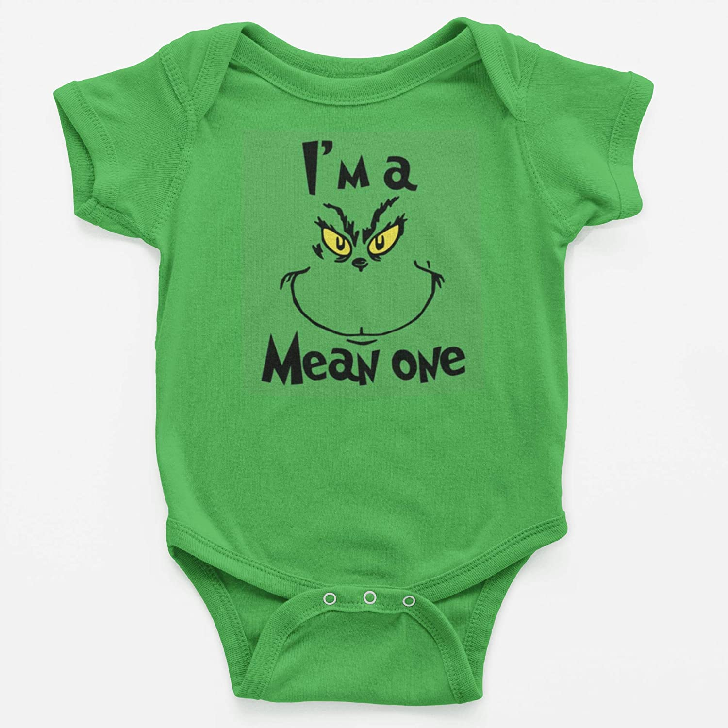 The Grinch Face Infant Holiday Bodysuit gift for boys and girls birthdays and holidays