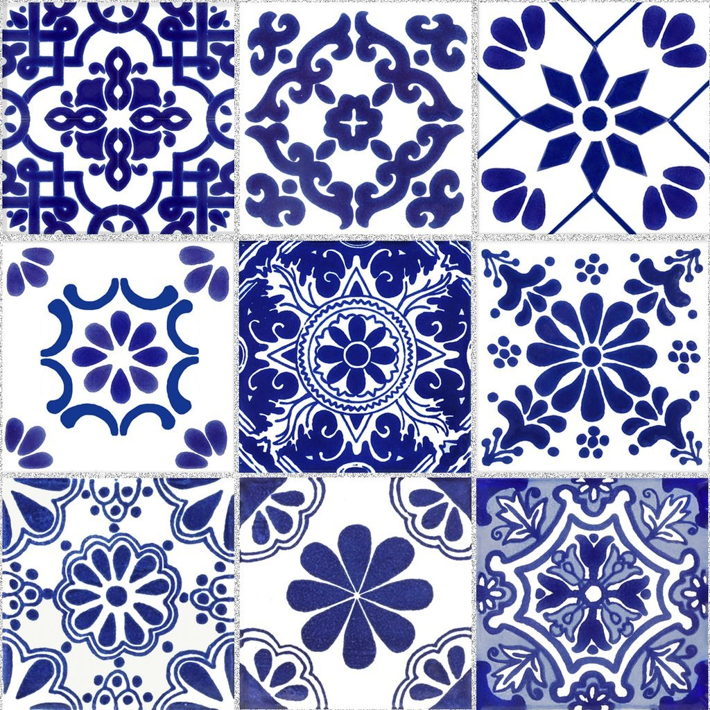 Tile Stickers Mexican Talavera 40pc 4-1/4in Peel and Stick for kitchen and bath TR007-4Q