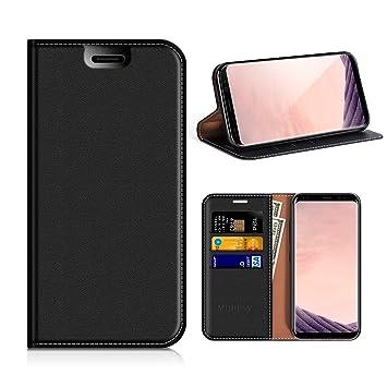 MOBESV Funda Cartera Samsung Galaxy S8, Funda Cuero Movil Samsung S8 Carcasa Case con Billetera/Soporte para Samsung Galaxy S8 - Negro