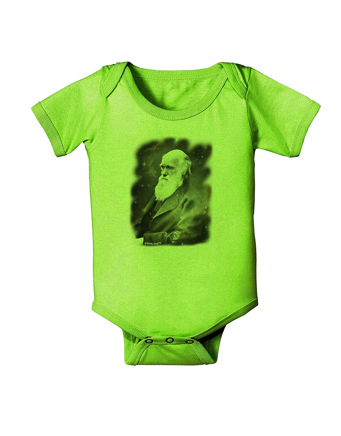 TooLoud Charles Darwin in Space Baby Romper Bodysuit