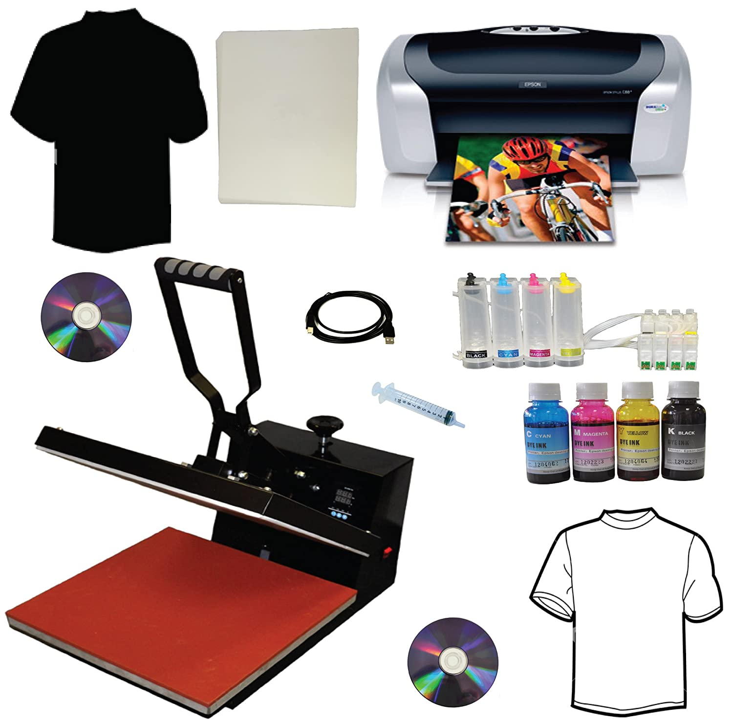 4f3bf44d3 Amazon.com: 15x15 Heat Transfer Press Epson C88+ Printer CISS Ink Refills  Bundle