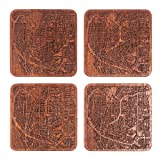 Buffalo, NY Map Coaster by O3 Design Studio, Set of 4, Sapele Wooden Coaster with city map, Multiple city optional, Handmade
