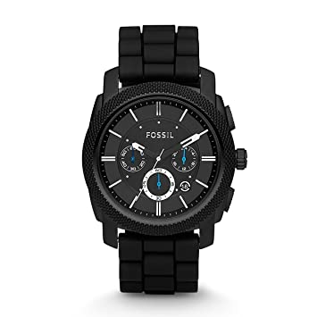 39bc98ca59d48 Amazon.com  Fossil Men s Machine Quartz Stainless Steel and Silicone ...