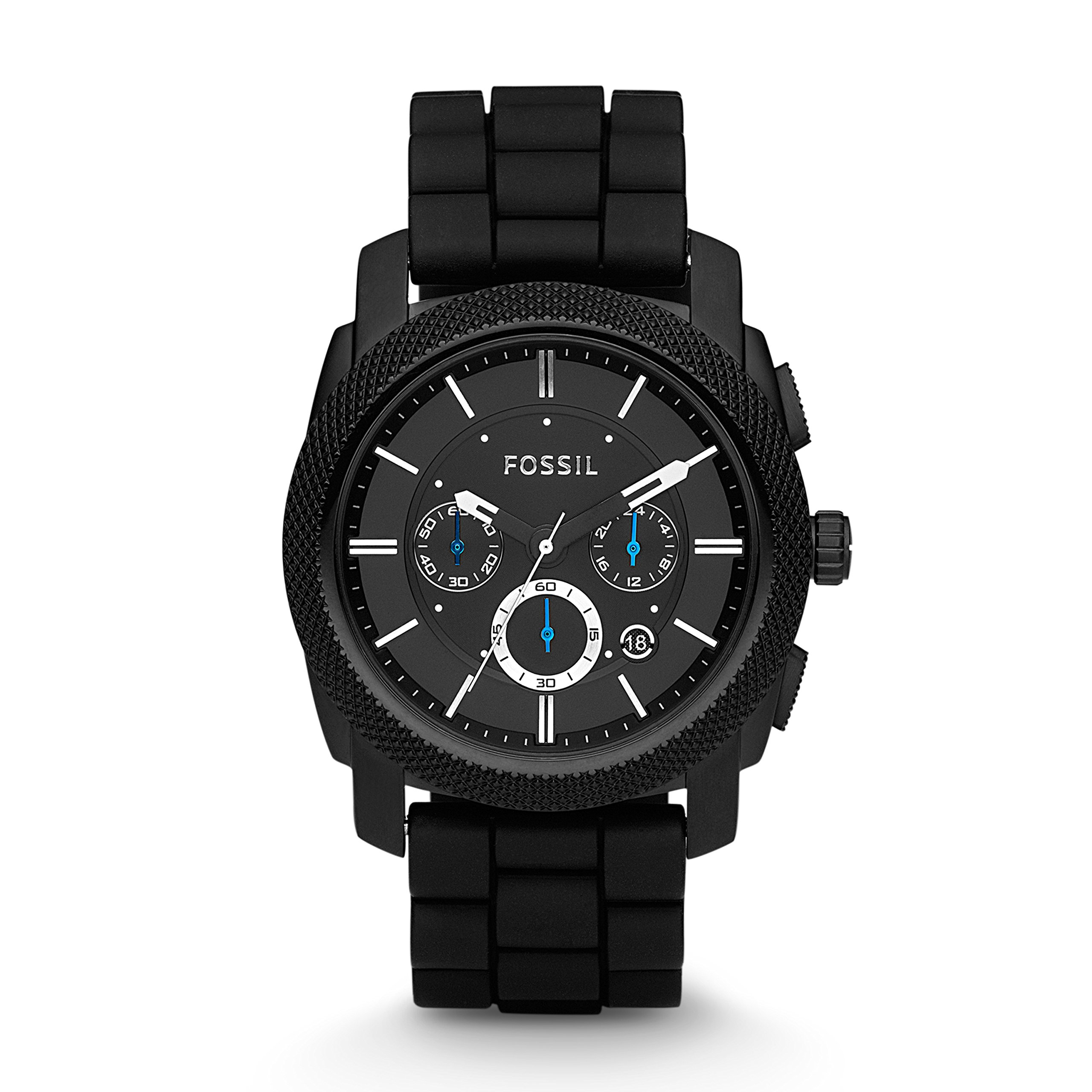 Fossil Men's Machine Quartz Stainless Steel and Silicone Chronograph Watch, Color: Black (Model: FS4487) by Fossil