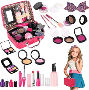 Tuptoel Pretend Makeup for Girls, Kids Make Up Kit for Girl Play Make Up with Cosmetic Case for Little Girls - Birthday Toys for Girls Age 3 4 5 6+