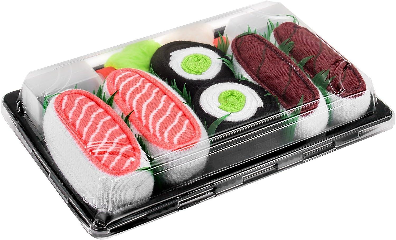 Rainbow Socks - Men's Women's - Sushi Socks Box Tuna Salmon Cucumber Maki - 3 Pairs