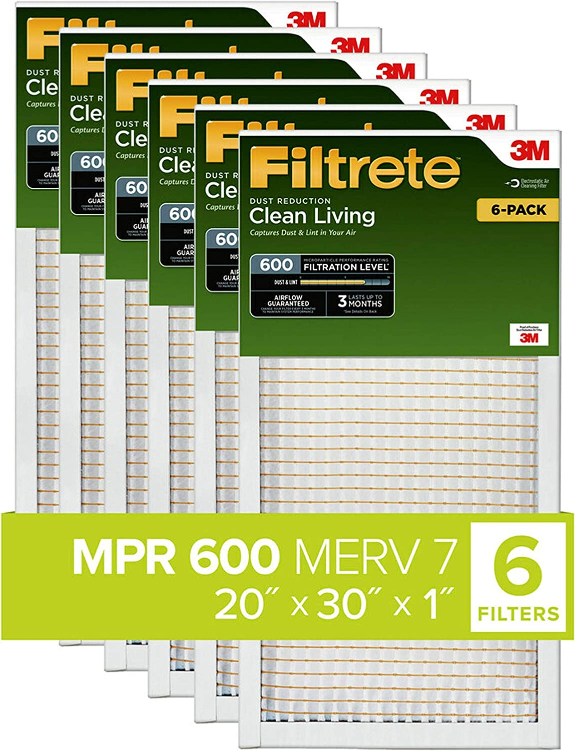Filtrete 20x30x1, AC Furnace Air Filter, MPR 600, Clean Living Dust Reduction, 6-Pack (exact dimensions 19.81 x 29.81 x 0.81)