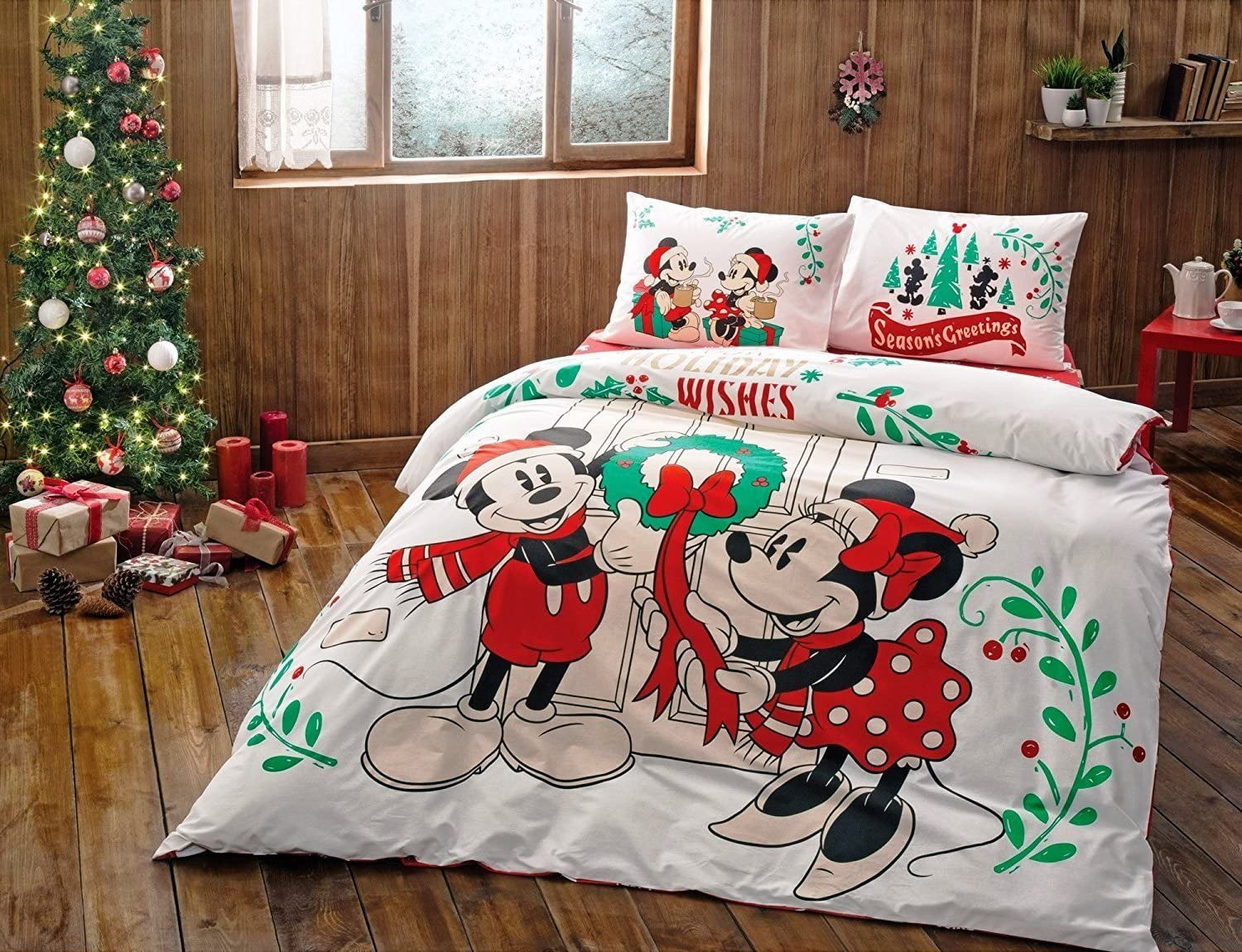 Mickey Mouse And Minnie Mouse Reversible Duvet Set Double Disney Bedding Xmas