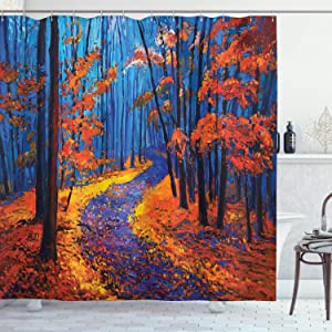 """Ambesonne Country Shower Curtain, Dark and Deep in The Forest in Fall Autumn Season Calm Nature Art Paint, Cloth Fabric Bathroom Decor Set with Hooks, 84"""" Long Extra, Orange Navy"""