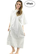 "Hospital Gown (4 Pack) Cotton Blend, Useful, Fashionable Patient Gowns, Back Tie, 46"" Long & 66"" Wide, Fits All Sizes to 2XL Sizes Fit Comfortably - Hospital Gown (4 Pack)"