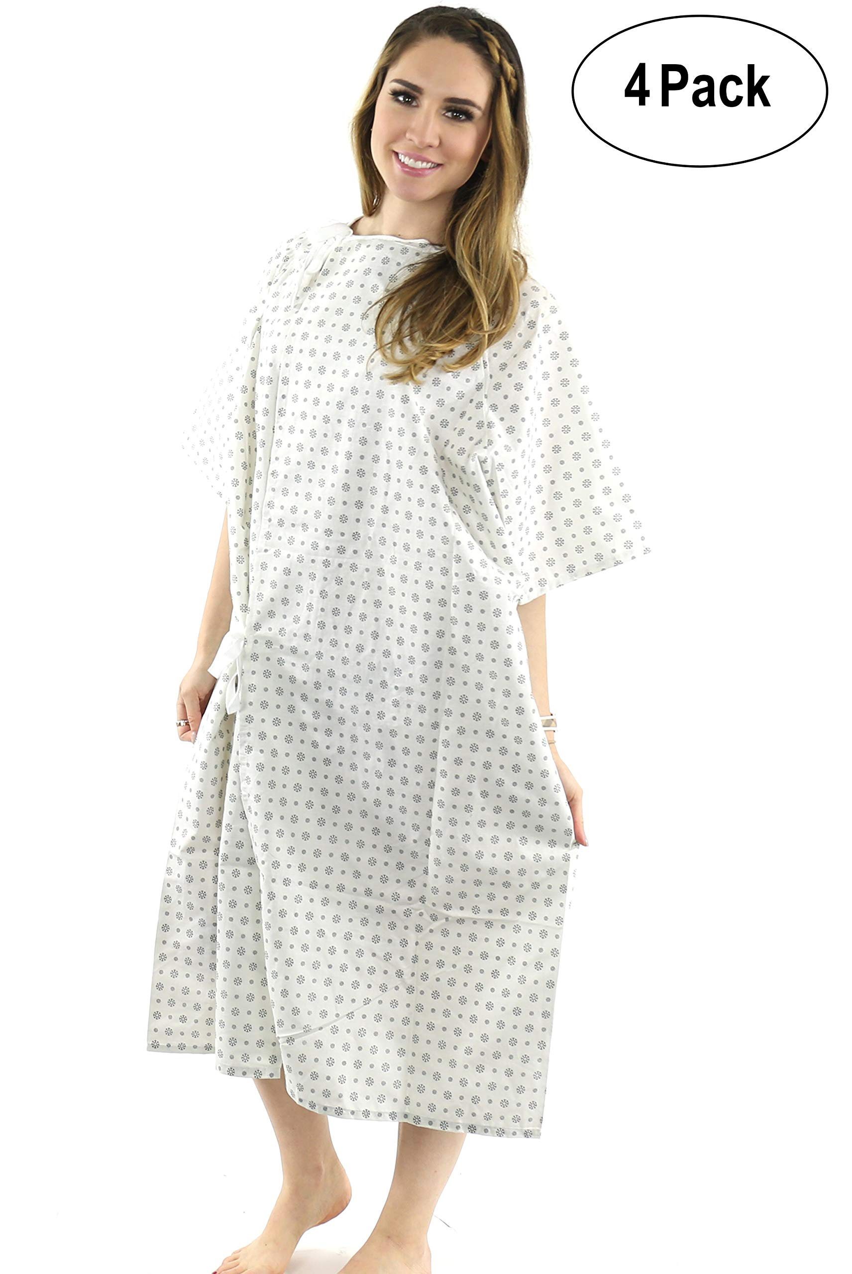Hospital Gown (4 Pack) Cotton Blend, Useful, Fashionable Patient Gowns, Back Tie, 46'' Long & 66'' Wide, Fits All Sizes to 2XL Sizes Fit Comfortably - Hospital Gown (4 Pack) by Magnus Care