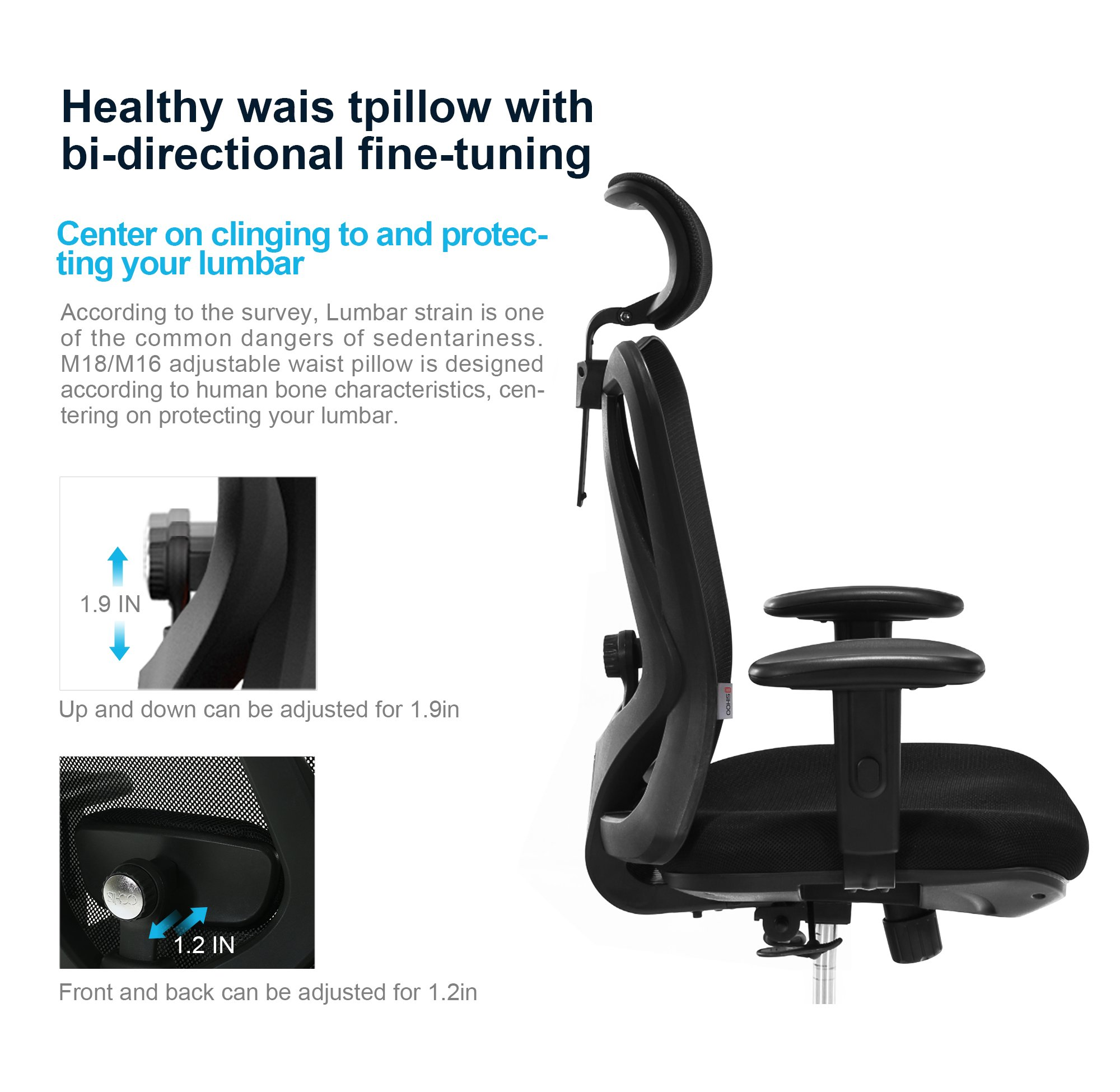Sihoo Ergonomics Office Chair Computer Chair Desk Chair, Adjustable Headrests Chair Backrest and Armrest's Mesh Chair (Black) by SIHOO (Image #4)