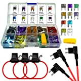 MuHize 120 PCS Mini ATM Assorted Blade Fuses (2A 3A 5A 7.5A 10A 15A 20A 25A 30A 35A) + Add-a-circuit TAP Adapter + Inline 16 AWG Gauge Holder