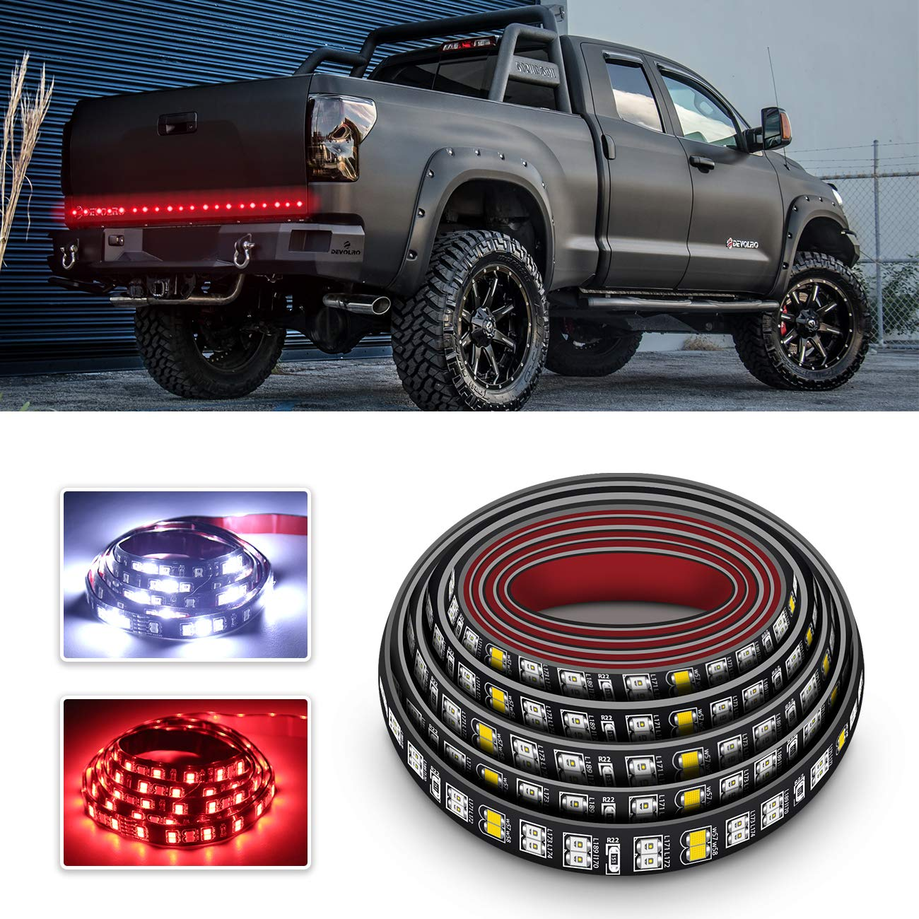 LED Truck Tailgate Light Bar 60 Inch Double Row LED Light Strip for Truck Reverse Brake Turn Signal Tail No-Drill IP67 Waterproof for Pickup SUV Jeep RV Van Dodge Ram Chevy GMC Ford AMMON