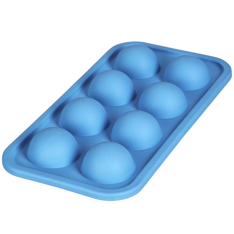 LEVIVO Molde de Silicona para 8 Cubitos de Hielo semicirculares Azul 15 cm