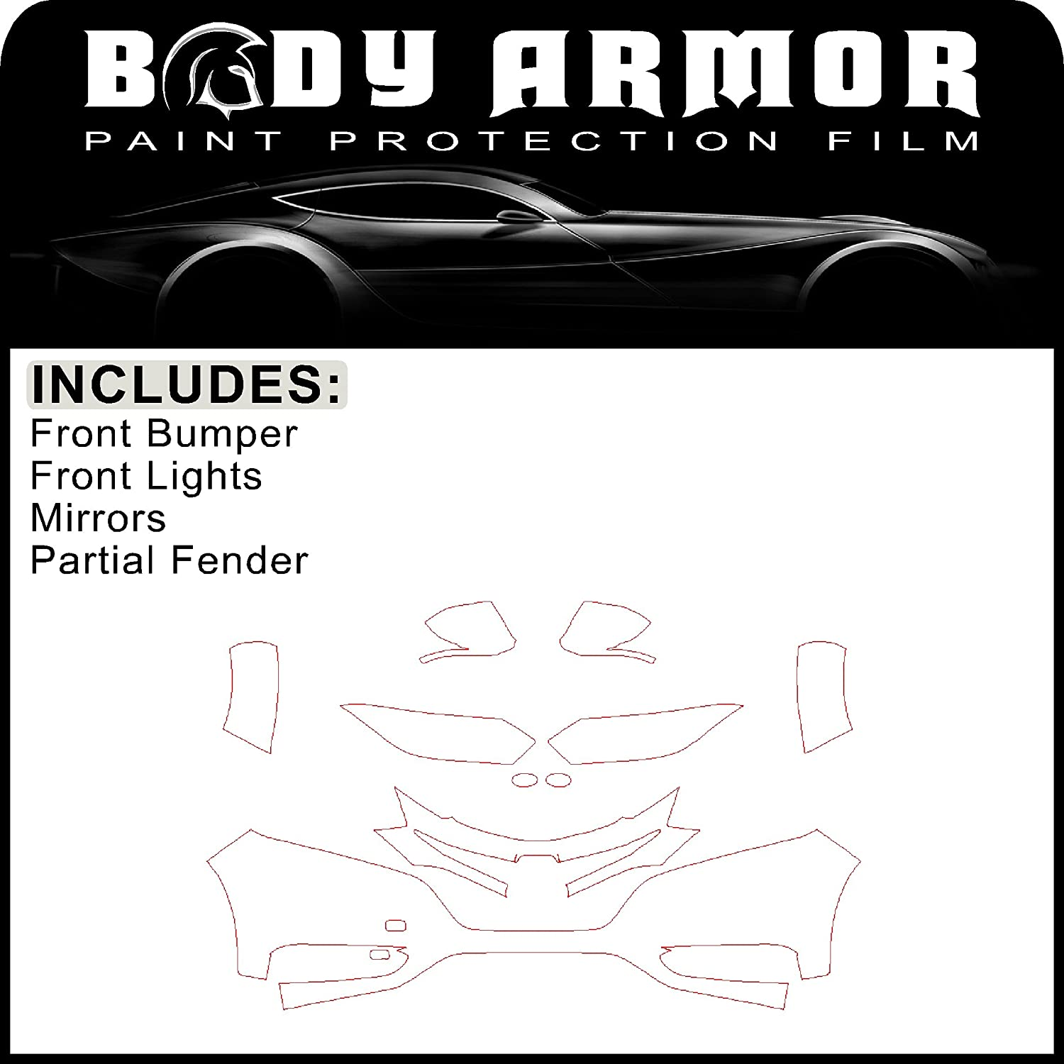 B92 - 2016 Honda HRV - Precut Clear Bra PPF Paint Protection Film Pre Cut Kit - Front Bumper, Partial Fenders, Head Lights, Mirrors sf