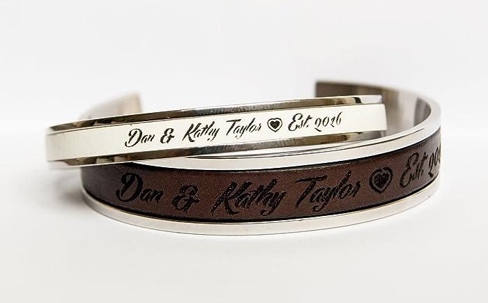 amazon com couples matching cuff bracelets personalized wedding