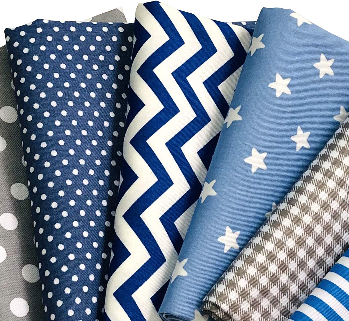 ANDRIMAX 7 pcs 18x22 Pre-Cut Quilt Squares Stripe Dot Fat Quarters Fabric Bundles for Patchwork Quilting and DIY Sewing Projects