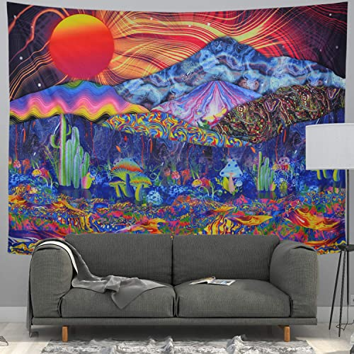Gusatanhati Psychedelic Tapestry Trippy Mushrooms Tapestry Colorful Mountain Landscape Tapestry Hippie Sun Tapestry Wall Hanging for Bedroom