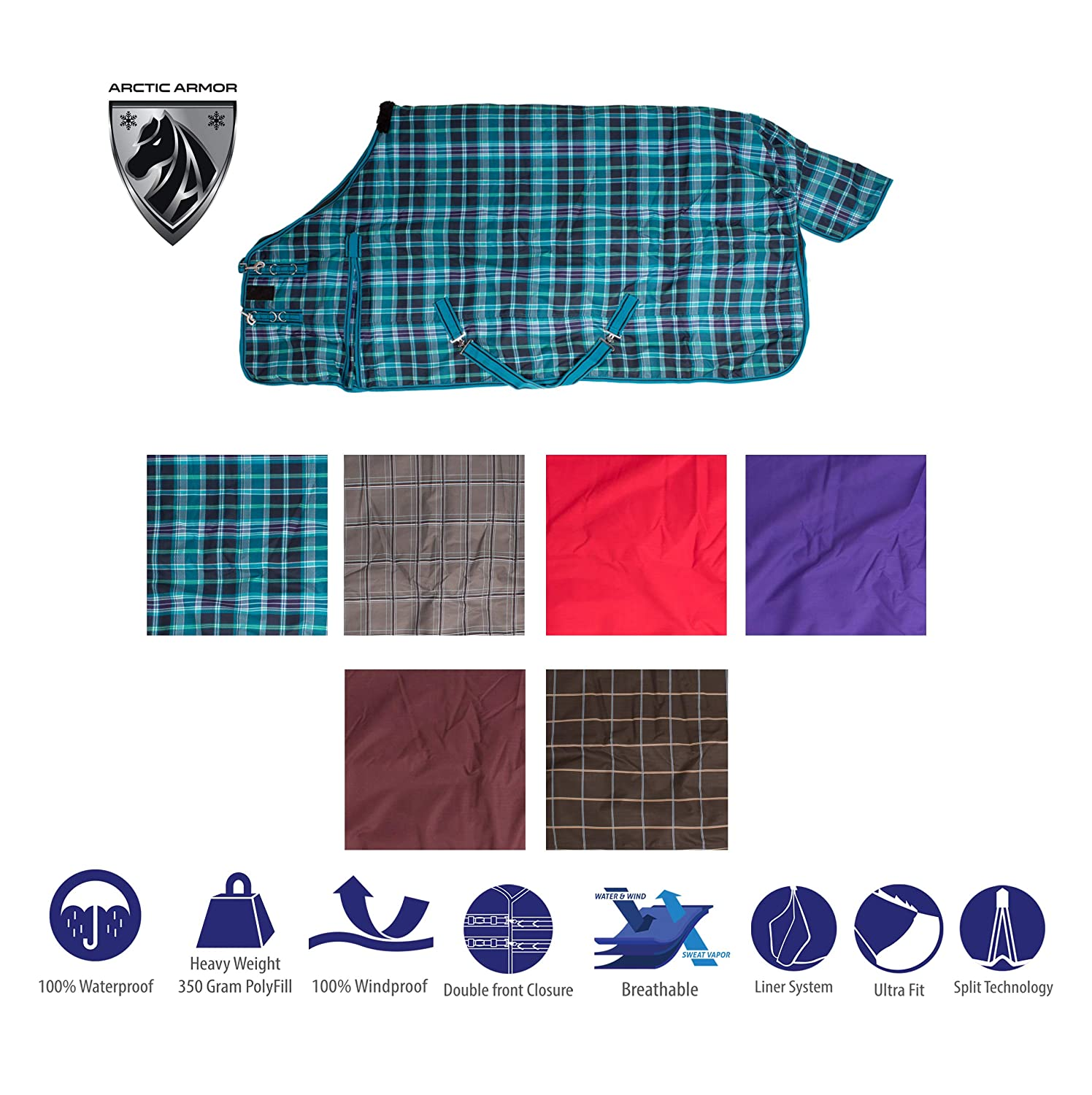 "AceRugs 70"" 72"" 74"" 76"" 78"" 80"" Heavy Weight Horse Turnout Blanket 1200D Rip Stop Water Proof Blue Plaid)"
