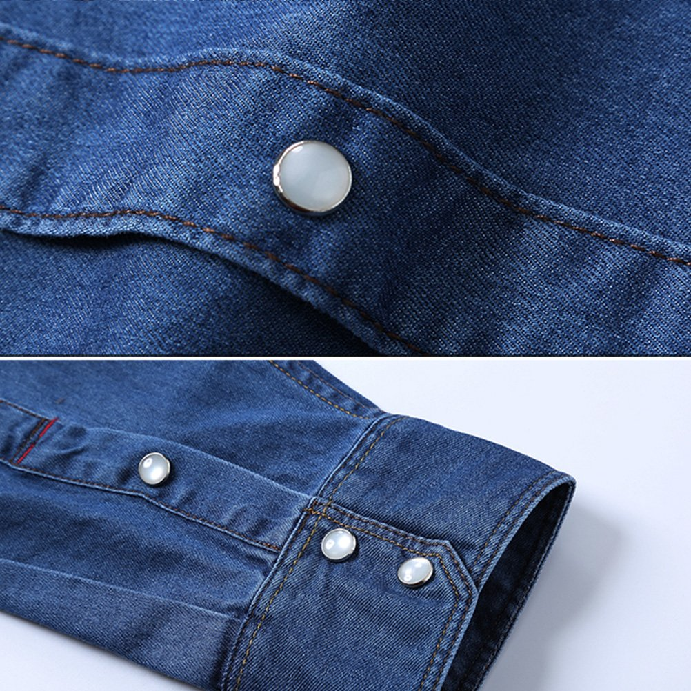 Zhuhaitf Mens Teenagers Cotton Casual Denim Shirts Long Sleeve Halloween gift
