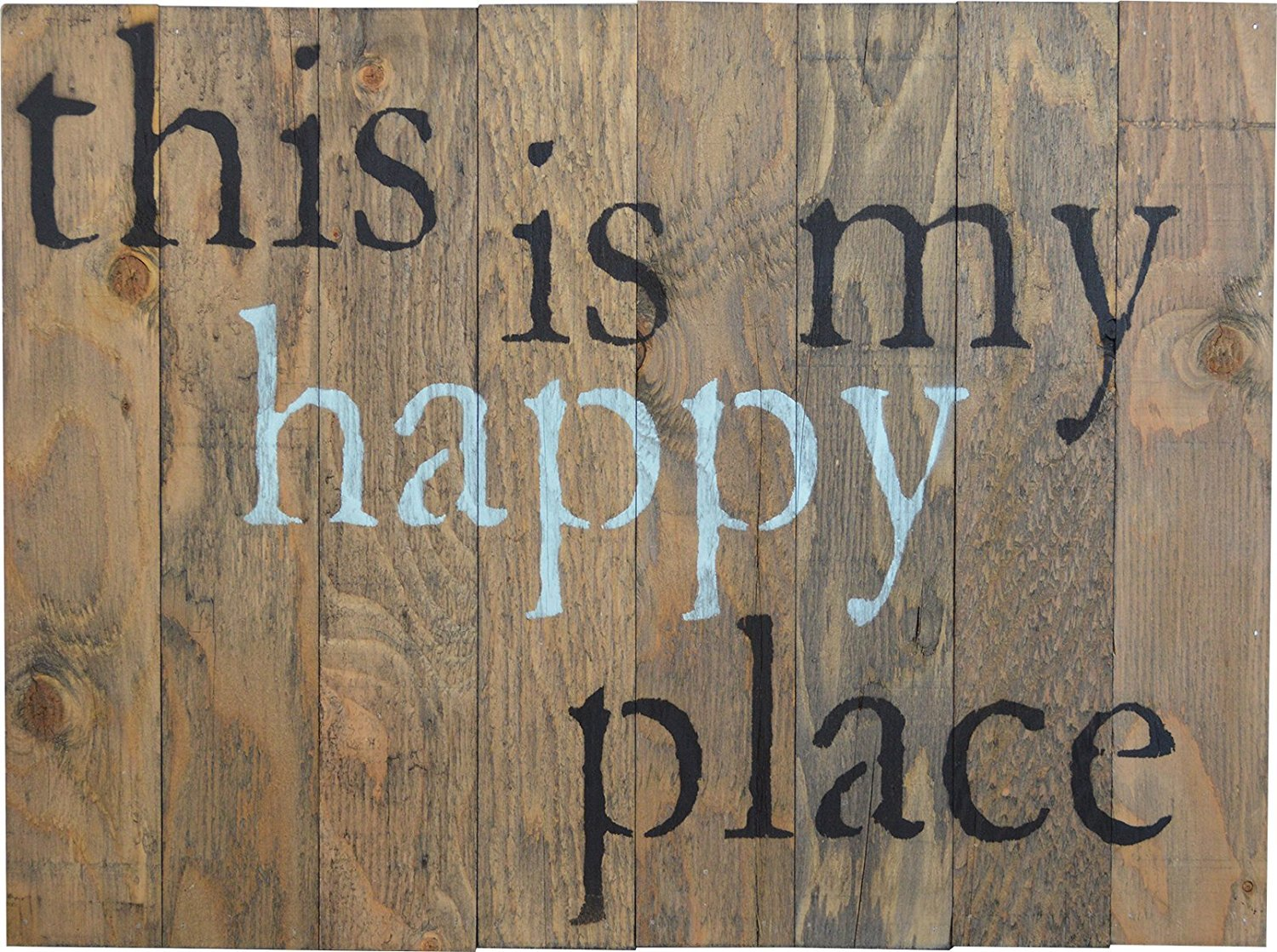 THIS IS MY HAPPY PLACE Rustic Barn Wood Pallet Sign 18''x24'' Handcrafted fun wall decor with floral design and quote to beautify your family home and make you smile every day