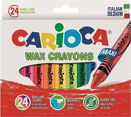 Carioca - Caja con 24 ceras pastel (A36150024): Amazon.es: Oficina y papelería