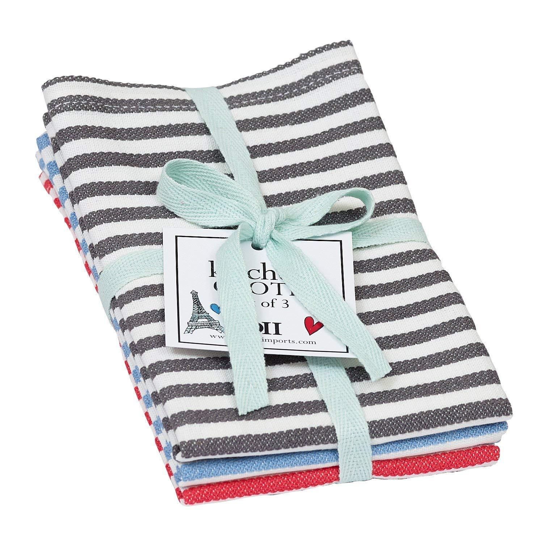 DII Design Imports Paris Petite Stripe Dishcloth Set of 3