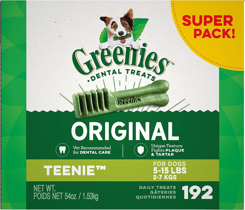 GREENIES Original TEENIE Natural Dental Care Dog Treats, 54 oz. Pack (192 Treats)