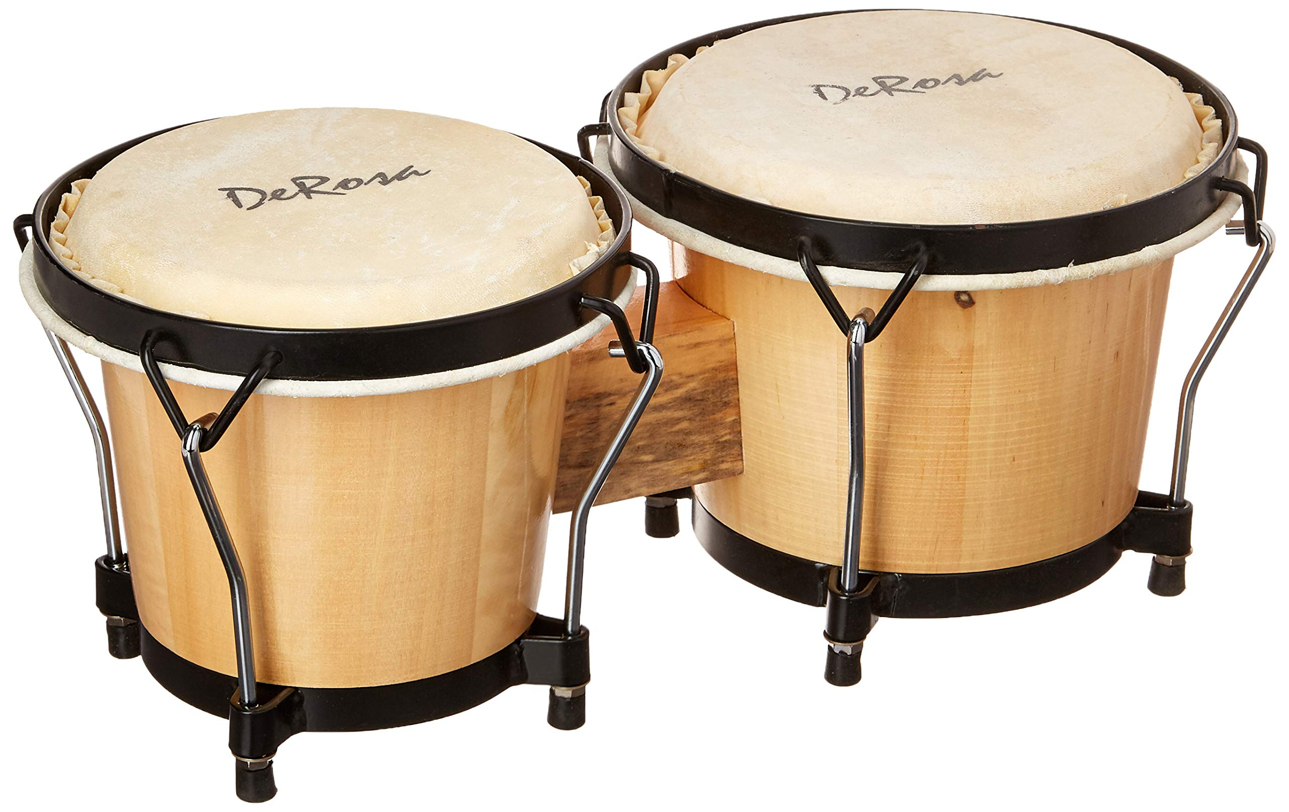 Junior Beginners Natural Percussion Double 7'' & 8'' Inch Diameter Student Wooden Bongos Drums with Tuning Wrench & DirectlyCheap(TM) Translucent Blue Medium Pick by Directly Cheap