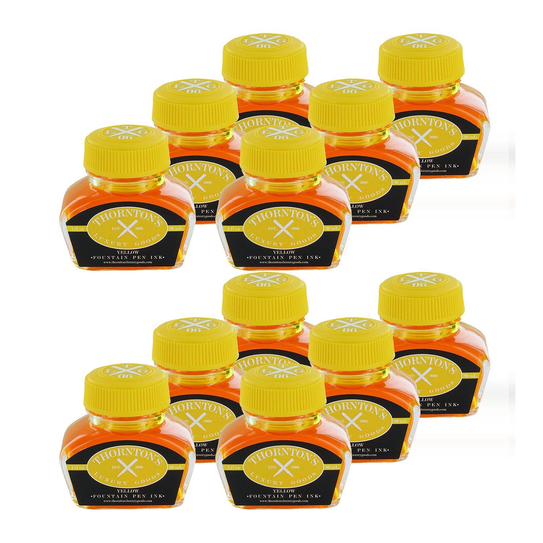 Thornton's Luxury Goods Fountain Pen Ink Bottle, 30ml, Set of 12 - Yellow