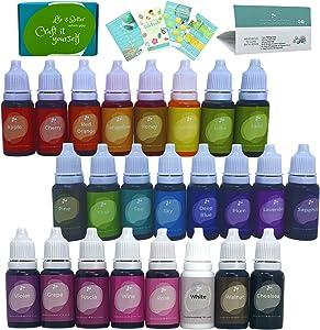 24 Color Cake Food Coloring Set, Food Grade Vibrant Liquid Dye Tasteless for Baking, Icing, Decorating, Fondant, Lip Gloss, Slime Making DIY Bath Bomb Supplies Kit- 35 Fl. Oz (10ml)