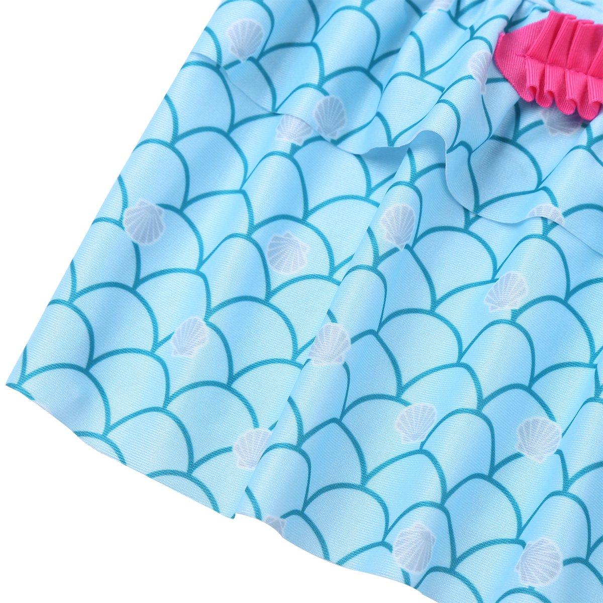 iEFiEL Kids Girls Halter Starfish Mermaid Ruffle Tankini Swimsuit Swimwear Tops with Bottoms Bathing Suit