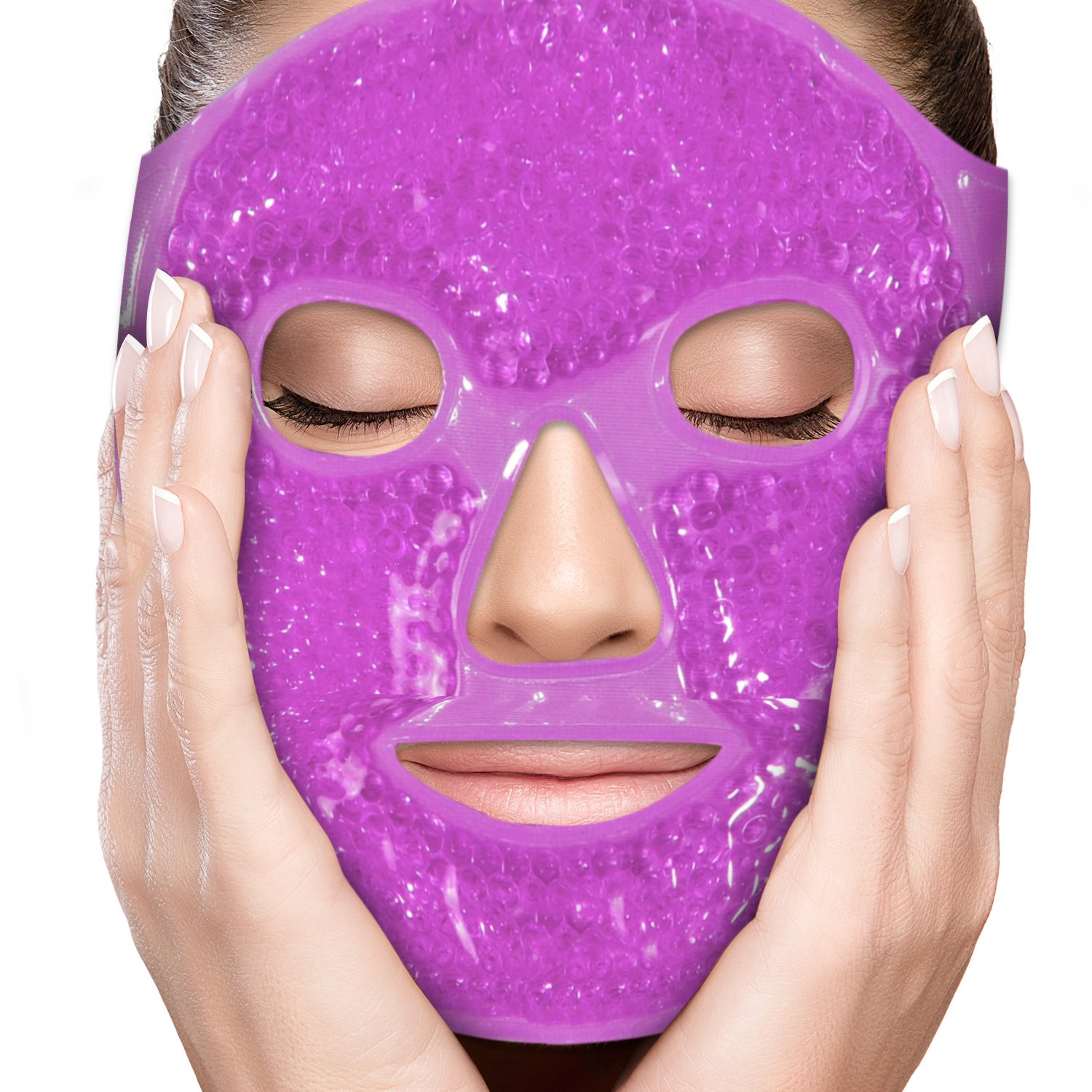 PerfeCore Facial Mask - Get Rid of Puffy Eyes - Migraine Relief, Sleeping, Travel Therapeutic Hot Cold Compress Pack - Gel Beads, Spa Therapy Wrap for Sinus Pressure Face Puffiness Headaches - Purple