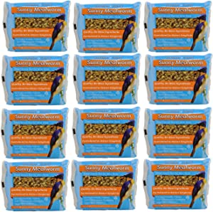 Songbird Treats Seed Bars | 12 Pack of 8 oz Bird Seed Cakes for Wild Birds (Sunny Mealworm)