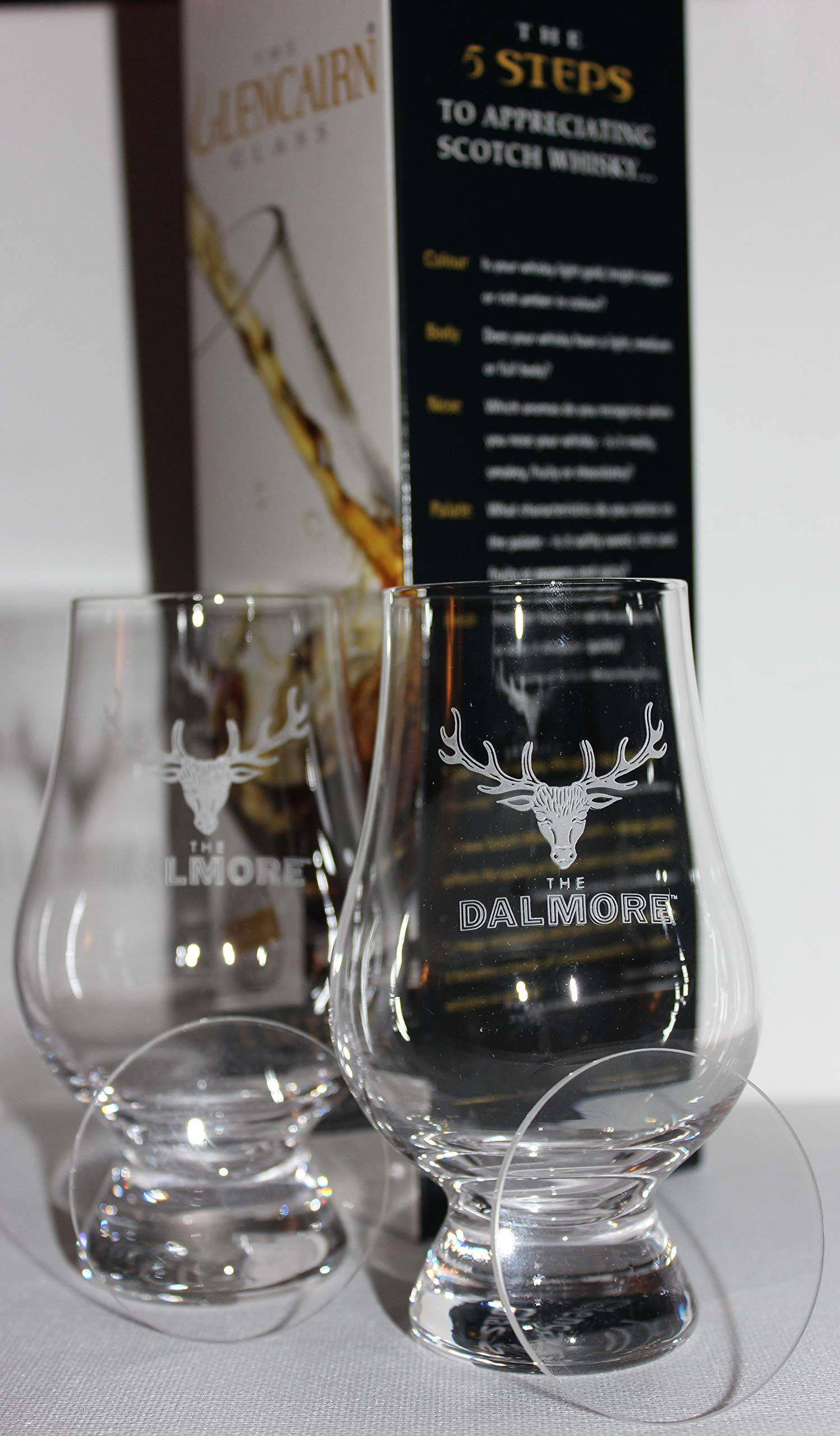 DALMORE TWIN PACK GLENCAIRN SCOTCH MALT WHISKY TASTING GLASSES WITH TWO WATCH GLASS COVERS
