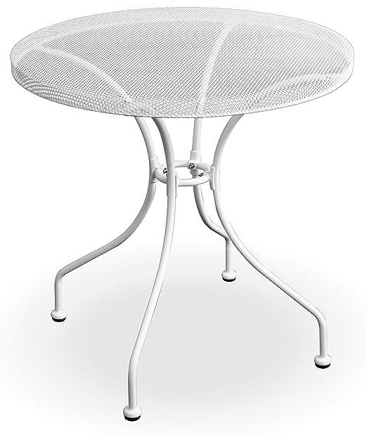 Tavolo Da Giardino Tondo Ferro.Q Bo Tavolo Da Giardino Rotondo In Ferro Color Bianco Con Piano