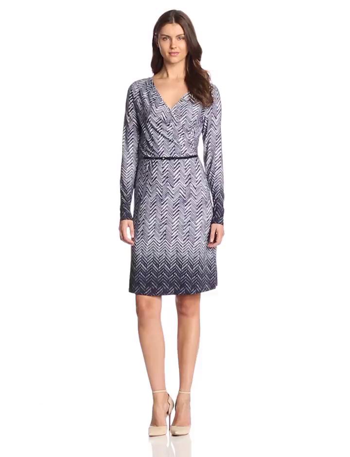 Anne Klein Women's Herringbone Print Dress, Orchid Multi, X-Large