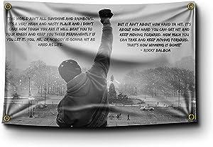 Banger - Rocky Balboa Sunshine and Rainbows Quote Motivational Inspirational Office Gym Wall Decor 3x5 Feet Flag Banner