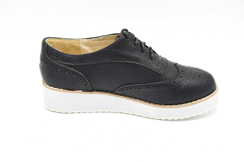 adb30640c146b1 Oh My Shop SHP77C * Derbies Derby Compensées Ajourées Semelle Blanche  Lacets - Mode Femme Noir Chaussures Chaussures femme