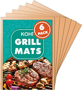 Kohi Copper Grill Mats Non-Stick for Gas Grill Charcoal Grill-6 Pack