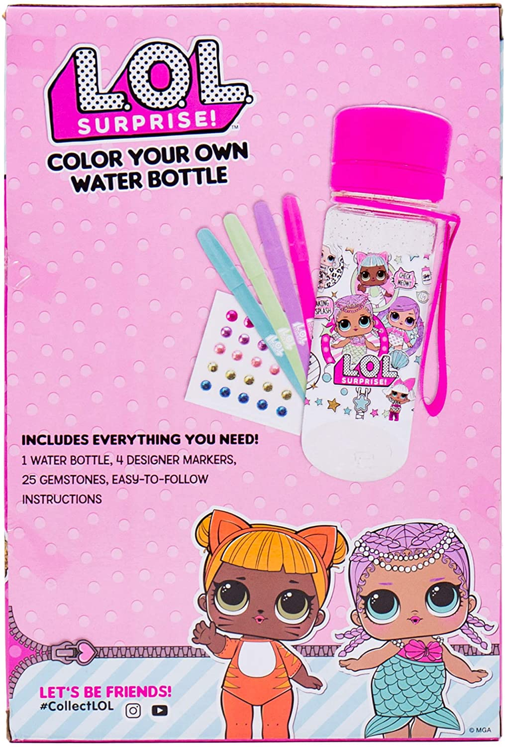 L.O.L. Surprise! Color Your Own Water Bottle by Horizon Group USA,DIY Bottle Coloring Craft Kit, BPA Free, Decorate Your Glitter Water Bottle with Colorful Markers & Gemstones, Multi Colored