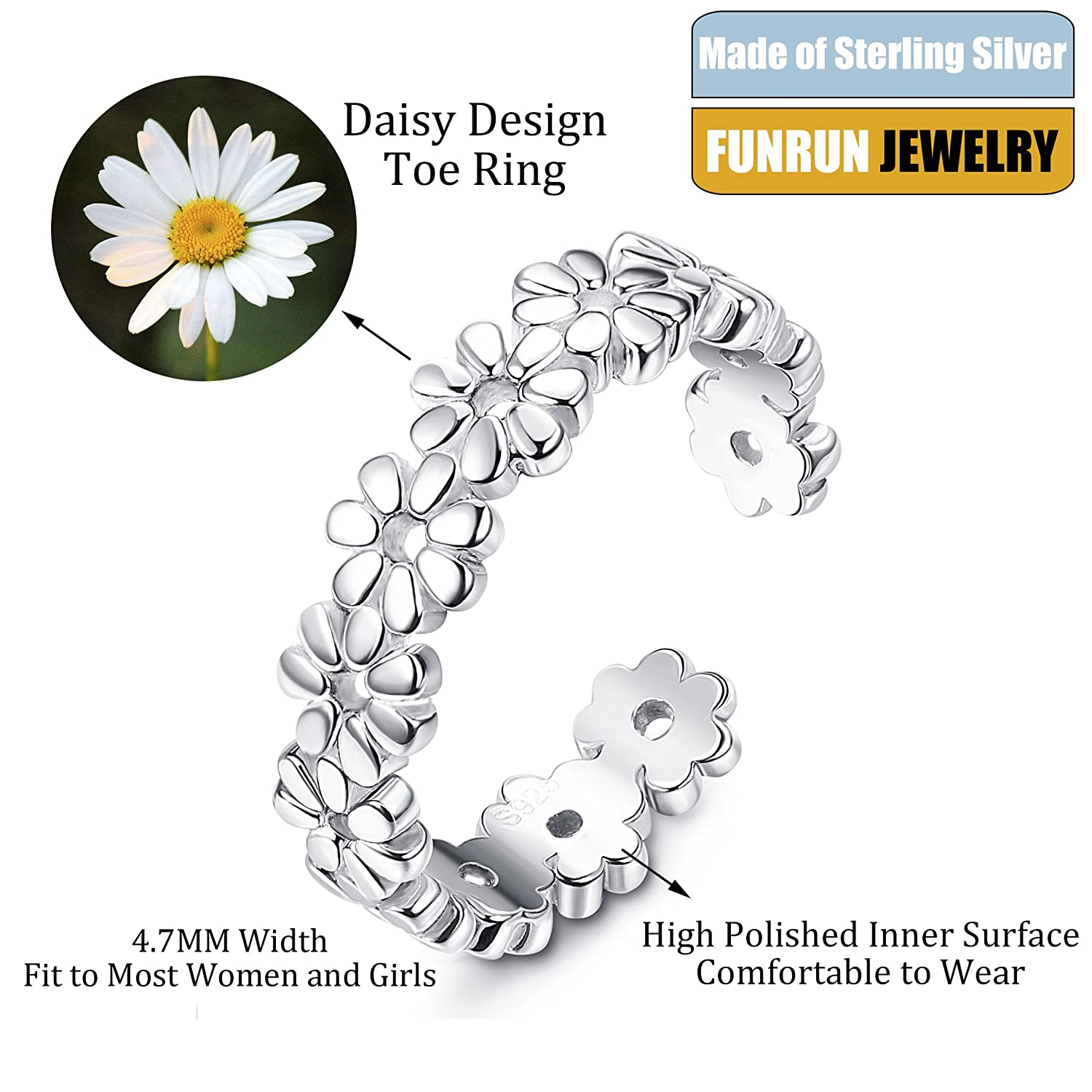 Funrun jewelry sterling silver toe rings for women girls foot funrun jewelry sterling silver toe rings for women girls foot jewelry hawaiian beach flower ring adjustable izmirmasajfo