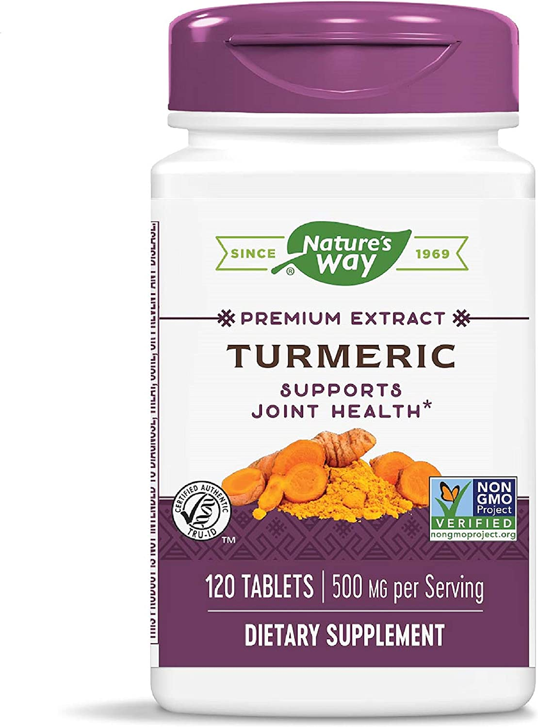 Nature s Way Premium Turmeric Extract, 95 Curcuminoids, TRU-ID Certified, Non-GMO, 500 mg per serving, 120 Capsules Packaging May Vary